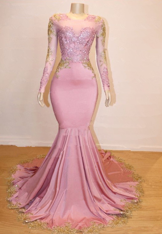 Gorgeous Long Sleeve 2020 Prom Dresses | Mermaid Pink Appliques Evening Gowns BC1142