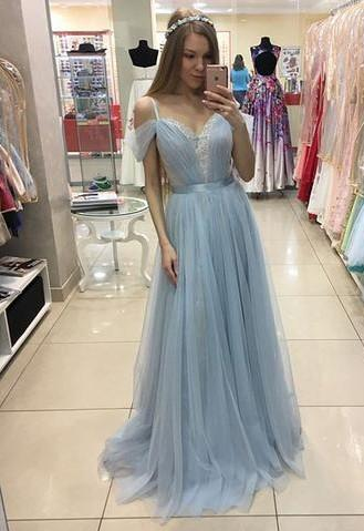 A-line Beautiful Straps Cap-Sleeves Sweep-train Tulle Prom Dress