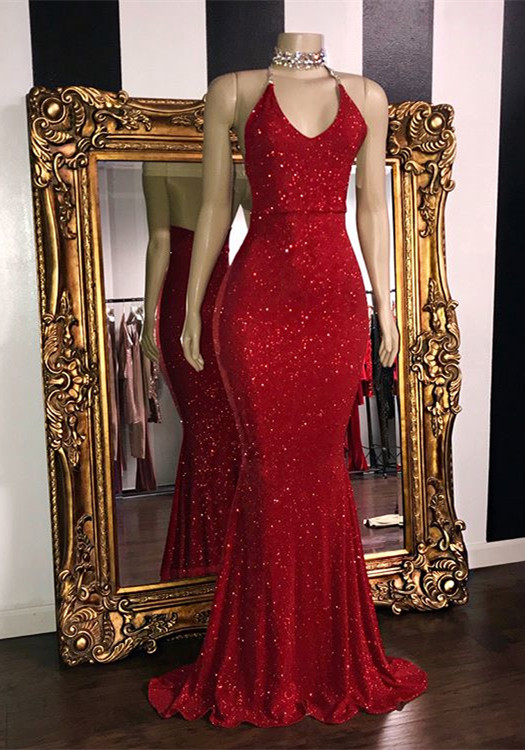 Gorgeous Glitter Sequins Prom Dresses   2020 Mermaid Halter Red Evening Gowns BC1085