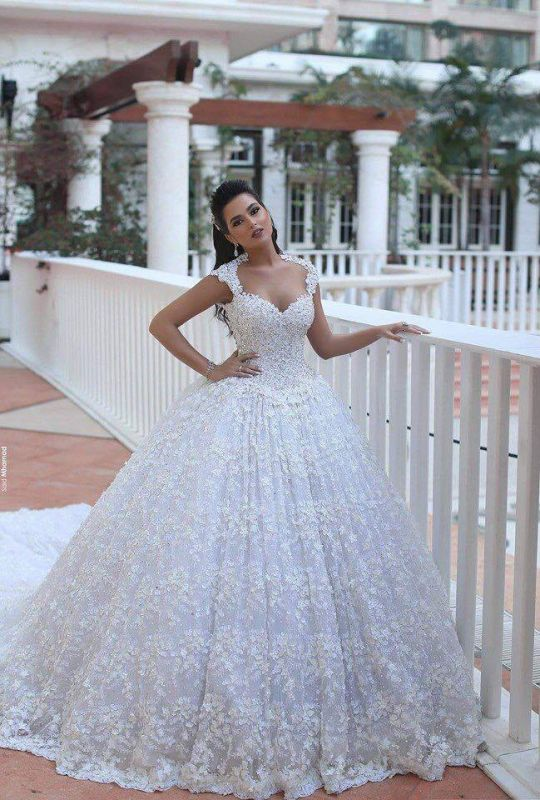 Glamorous Cap Sleeve Lace Wedding Dresses 2020 Ball Gown With Train BA3022