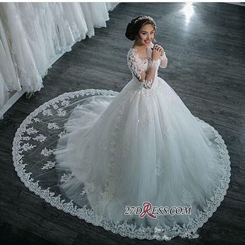 Ball-Gown Beaded Lace Sheer Long-Sleeves Wedding Dresses BA4150