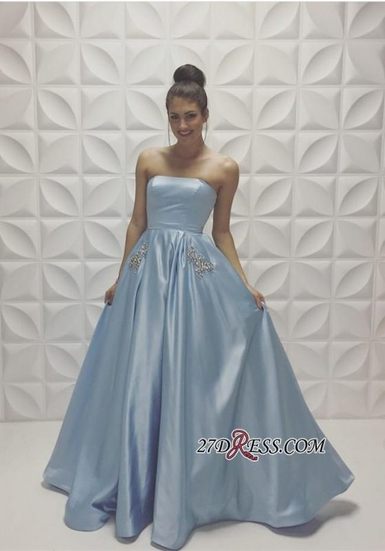 Beads Strapless Sleeveless Baby-Blue A-line Newest Prom Dress