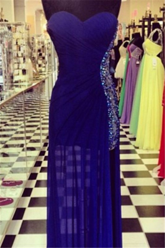 Sexy Navy Blue Sweetheart Prom Dresses 2020 Beadings Long Chiffon Party Gowns