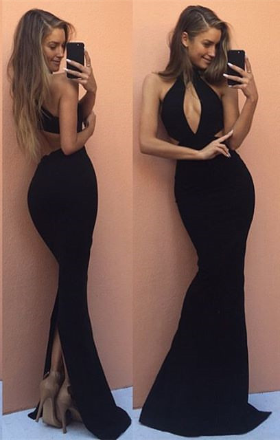 Gorgeous Halter Black 2020 Prom Dress Mermaid Keyhole Style BA7526