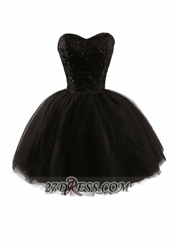 Modern Sweetheart Sleeveless Black Cocktail Dress Lace-up Beading Sequins Ball Gown Short Homecoming Gown