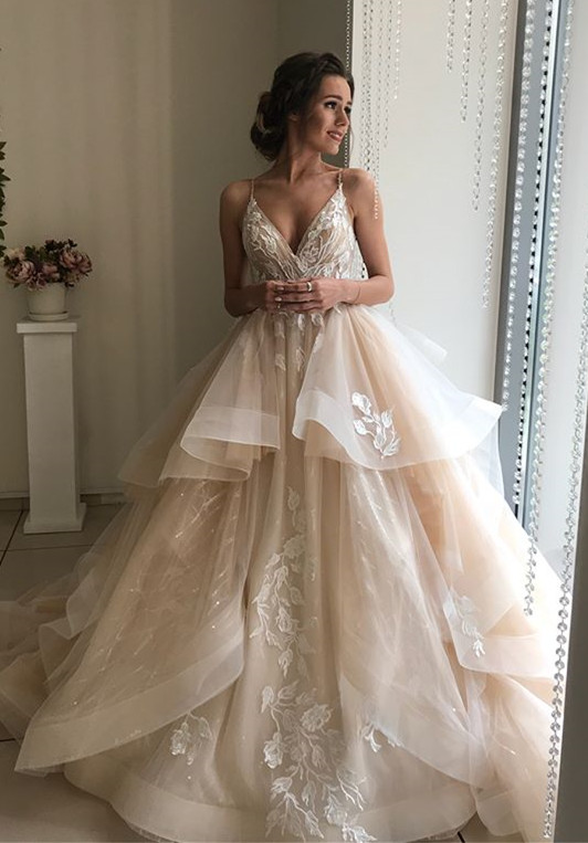 Glamorous V-Neck Lace Wedding Dresses | 2020 Ruffles Champagne Bridal Gowns