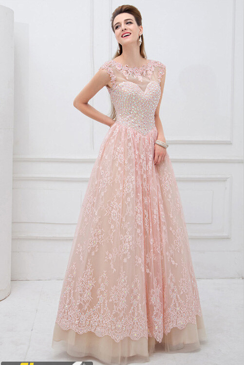Sleeveless Amazing Beadings Lace Appliques Long prom Dress Floor length