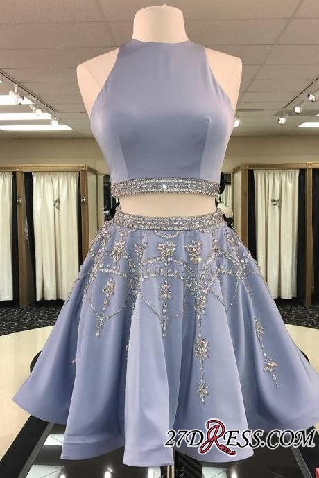 Short Crystal Two-Pieces A-line Sleeveless Gorgeous Homecoming Dress