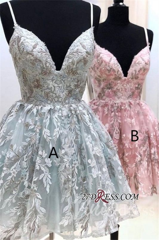Alluring Spaghetti-Straps Appliques V-neck A-line Homecoming Dresses