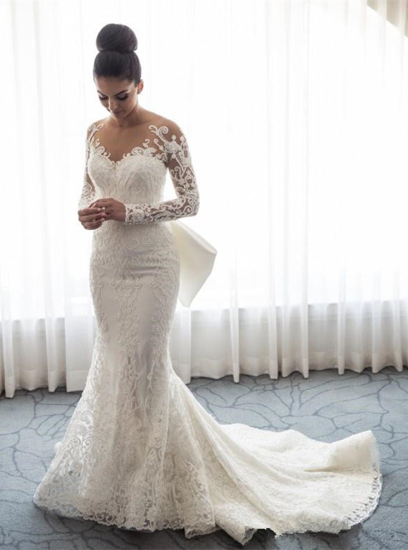 Gorgeous Long Sleeve Wedding Dress | 2020 Mermaid Lace Bridal Gowns BC0093