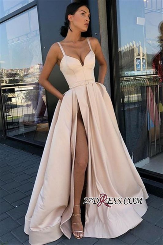 Glamorous Sleeveless A-Line Prom Dress | Spaghetti-Straps Side-Slit Prom Gown BC1762