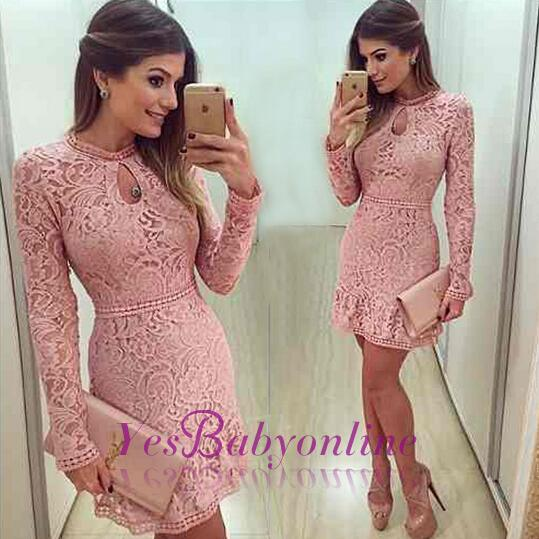 2020 Neckline Short Sleeves A-line Lace Scoop Pink Long Prom Dress BA4047