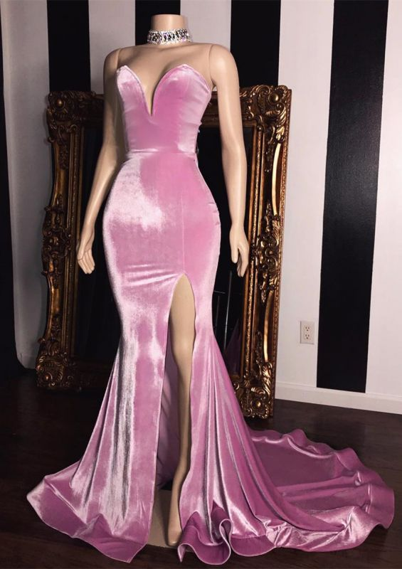 Elegant Pink Velvet Sweetheart Prom Dresses | 2020 Mermaid Long Evening Gowns With Slit BC1231
