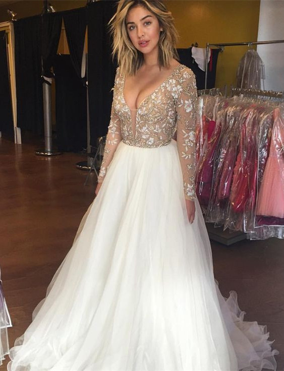 Beautiful long Sleeve Prom Dresses 2020 Beadings Tulle Appliques BA3219
