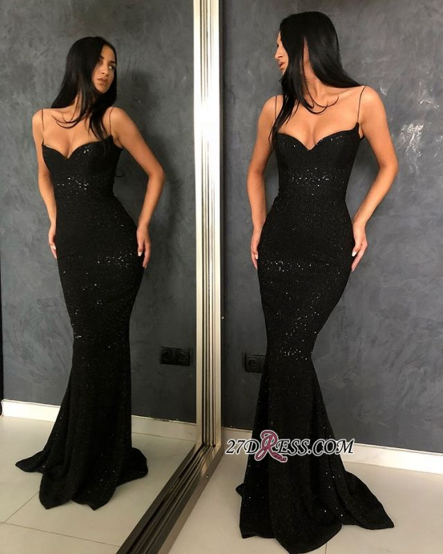 Glamorous Sleeveless Mermaid Evening Dresses | Black V-Neck Spaghetti-Strapes Sequins Prom Dresses BC0274