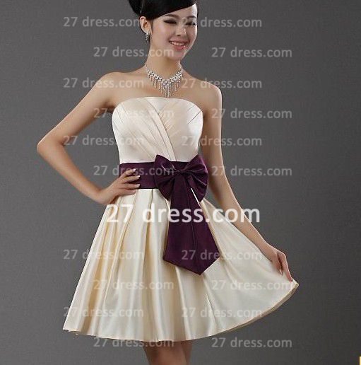 Mini Wedding Dress with Purple Wholesale Satin Bridesmaid Fashion Party Dresse Bowknot