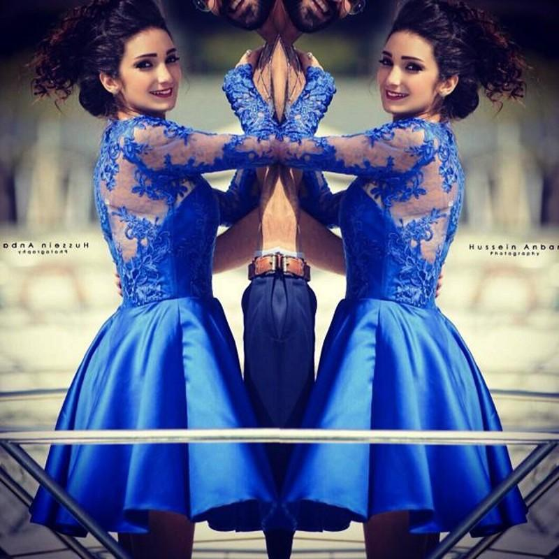 Modern Jewel Royal Blue Homecoming Dress Long Sleeve With Lace Appliques