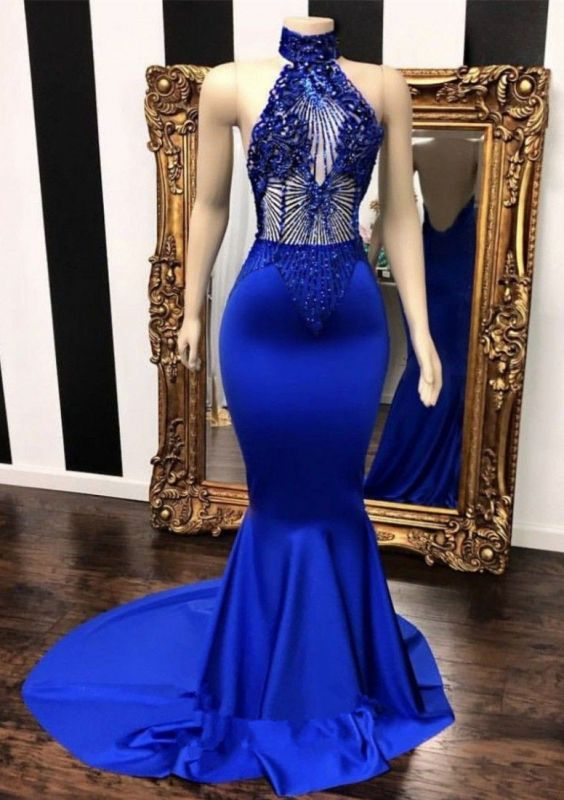 Stunning Royal Blue Mermaid Prom Dresses | 2020 Lace Beading Evening Gowns BC0798
