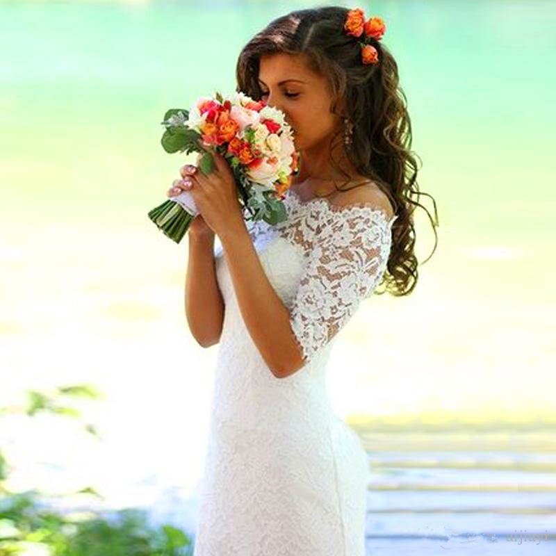 Modern Off-the-shoulder Half-sleeve Mermaid Wedding Dress With Lace