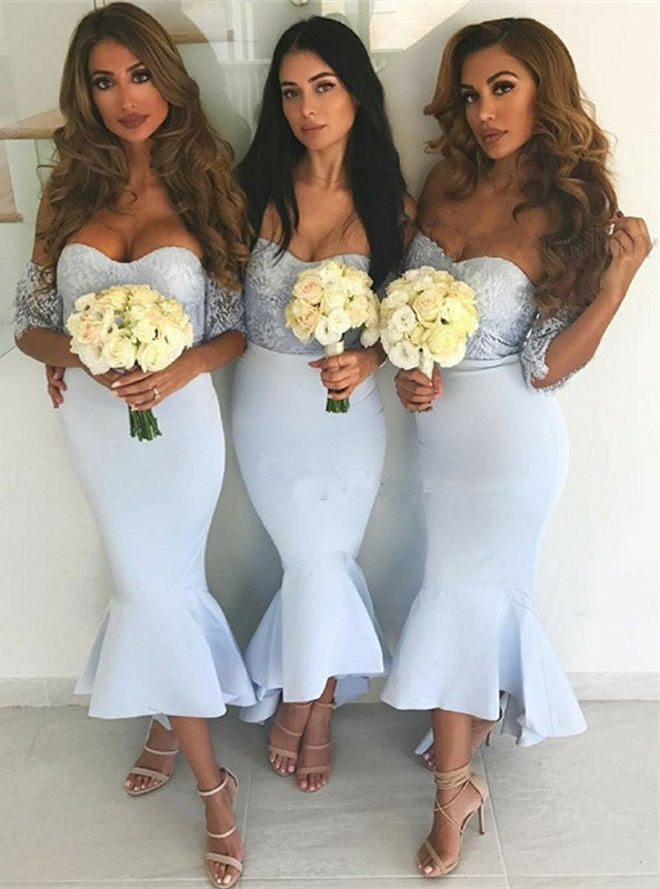 Newest Lace Off-the-shoulder Mermaid Bridesmaid Dress | 2020 Cheap Tea-length Dress
