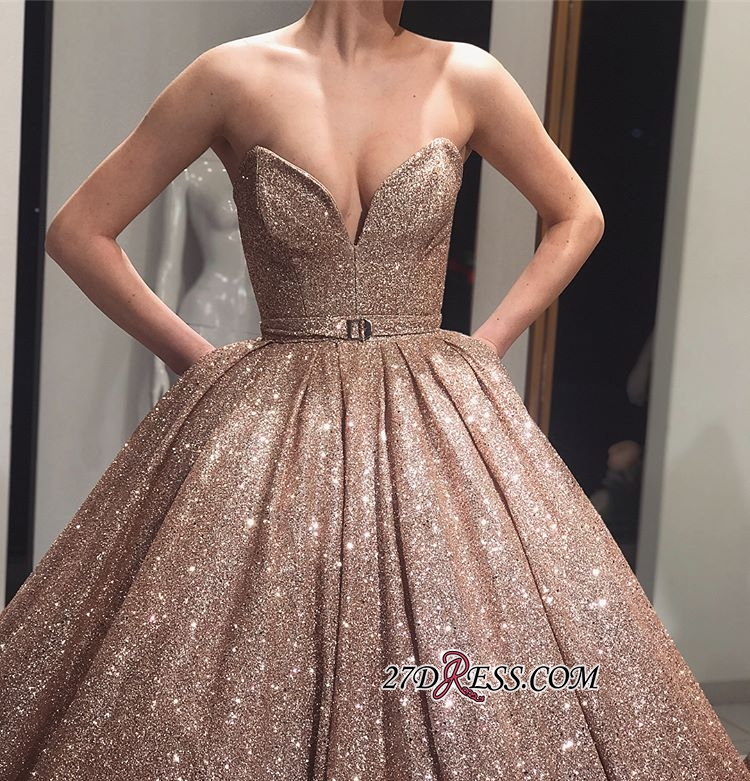 Ball-Gown Sleeveless Shiny Sweetheart Sashes Sequins Prom Dresses