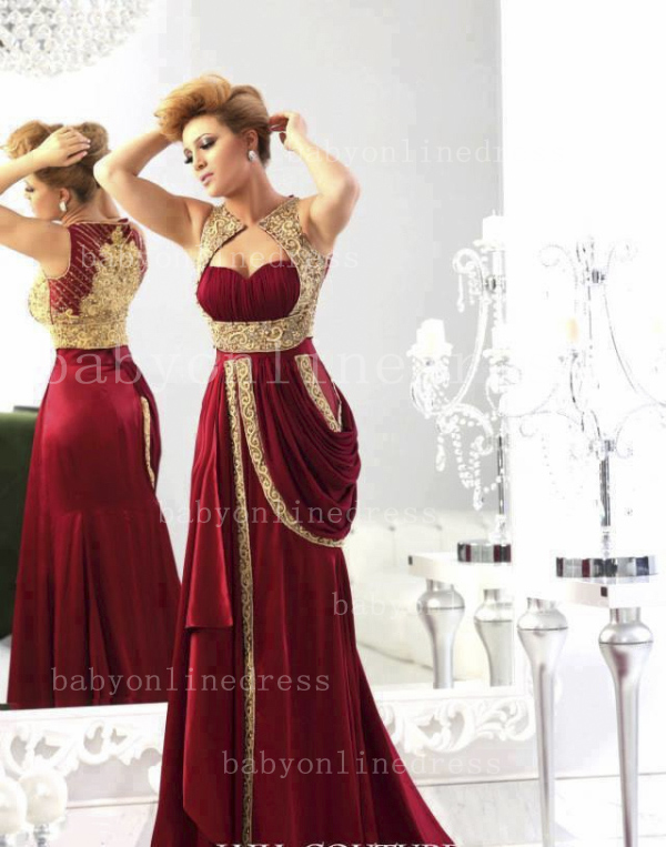 Wholesale Arabic Sexy Chiffon Evening Dresses 2020 Sweetheart Burgundy Gold Crystals Prom Dress with Embroidery
