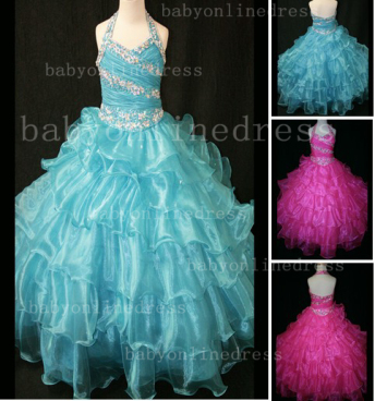 Beaded Sexy Girls Pageant Dresses for Sale Inexpensive 2020 Crystal Floor-length Organza Gowns Online