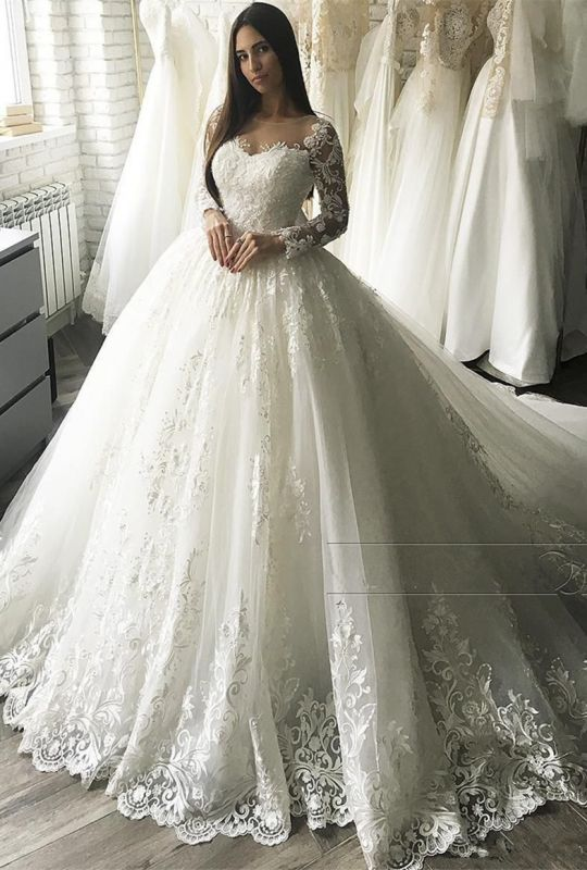 Glamorous Long Sleeve Lace Bridal Gowns | 2020 Ball Gown Zipper Wedding Dress