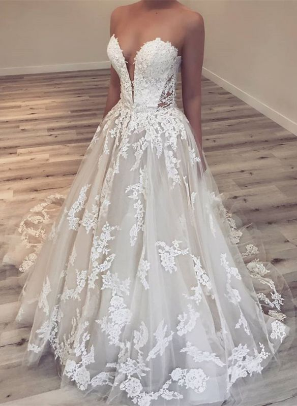 Elegant Sweetheart Lace 2020 Wedding Dresses | Lace Appliques Princess Bridal Gowns