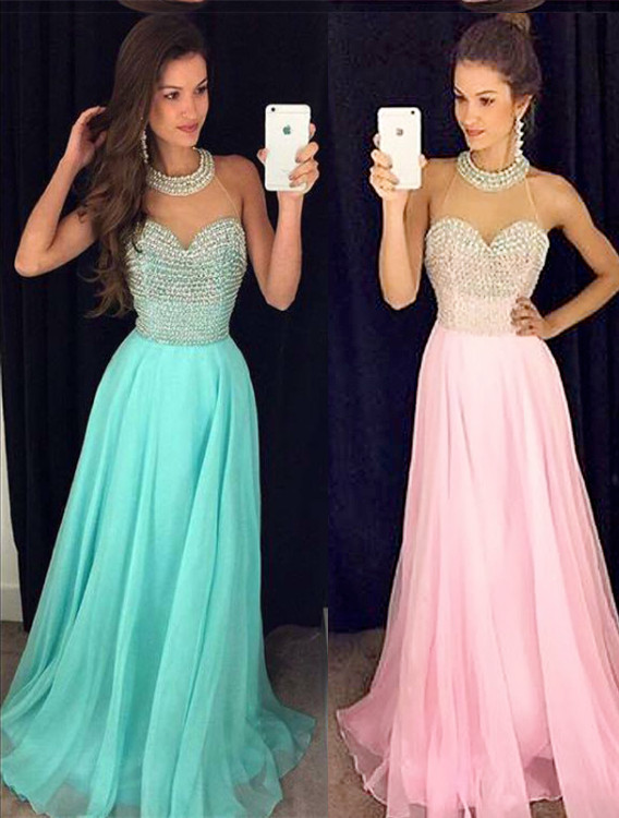 Timeless Beads High-Neck Long Prom Dress 2020 Chiffon Sleeveless Party Gowns AP0