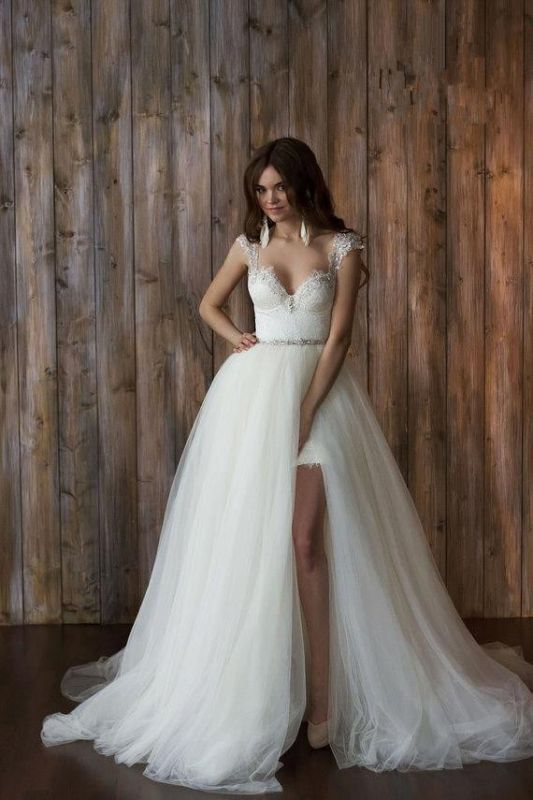 Glamorous Cap Sleeve Lace 2020 Wedding Dress Tulle Detachable