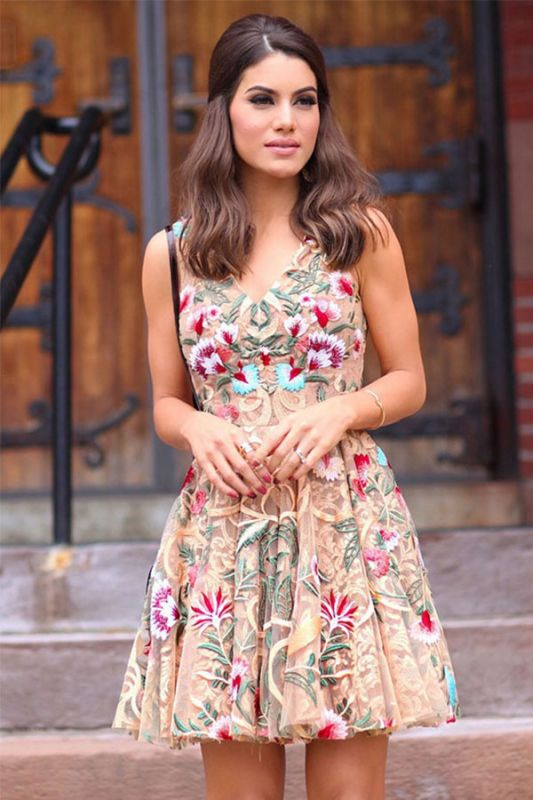 V-neck Flower Sweet Short Strap A-line Homecoming Dress