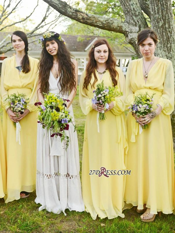 Chiffon Chic Long-Sleeve V-Neck Yellow Bridesmaid Dress