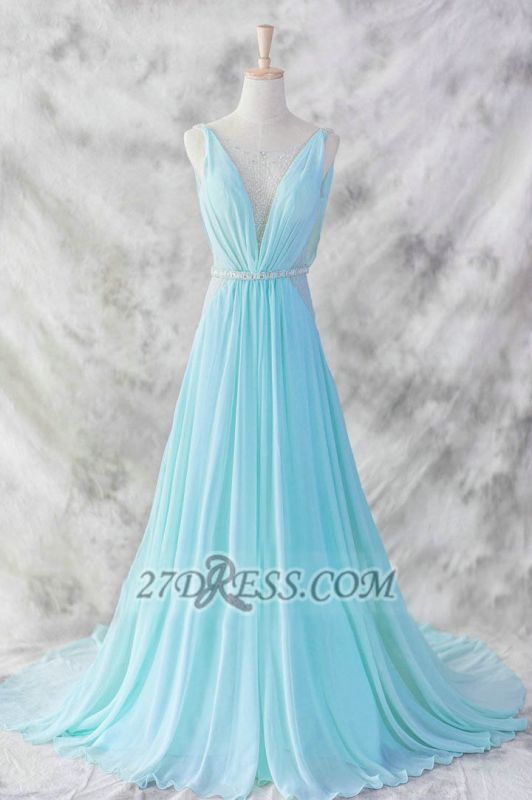 Elegant V-Neck Sleeveless Chiffon Evening Dress With Beadings Sequins Prom Gowns