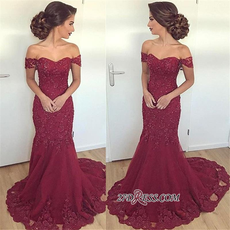 Off-the-Shoulder Mermaid Long Glamorous Burgundy Lace Appliques Evening Dress