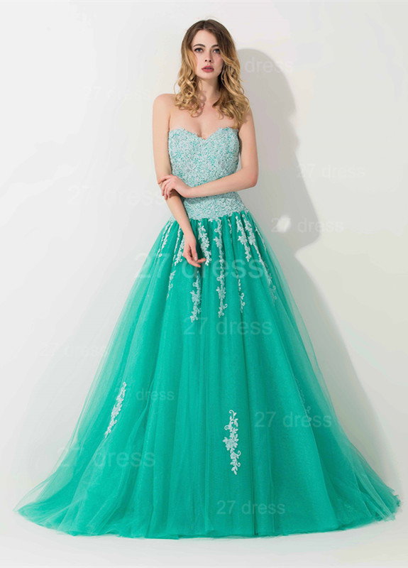 Modern Sweep Train Lace Appliques Evening Dress Princess Tulle Sleeveless