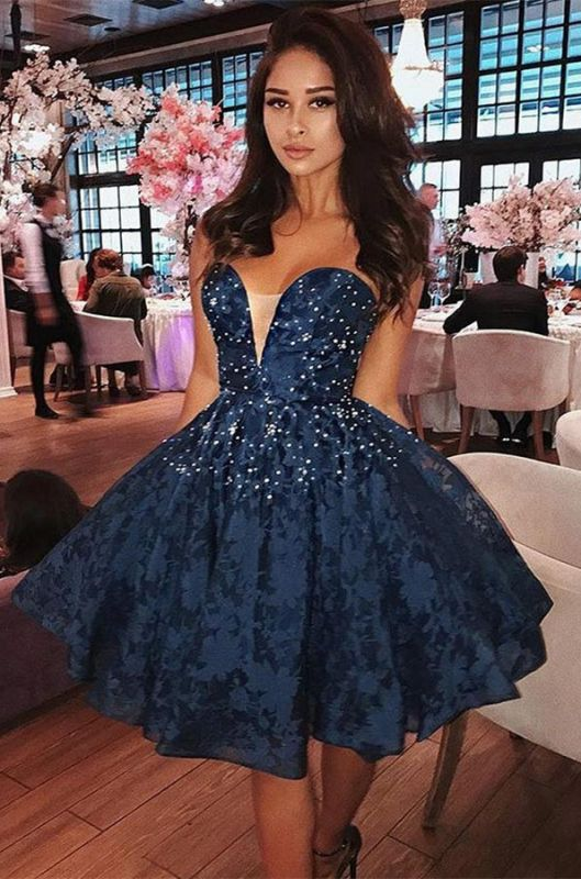 Elegant Sweetheart Lace Short Prom Dress | 2020 Homecoming Dress With Beads BC1828