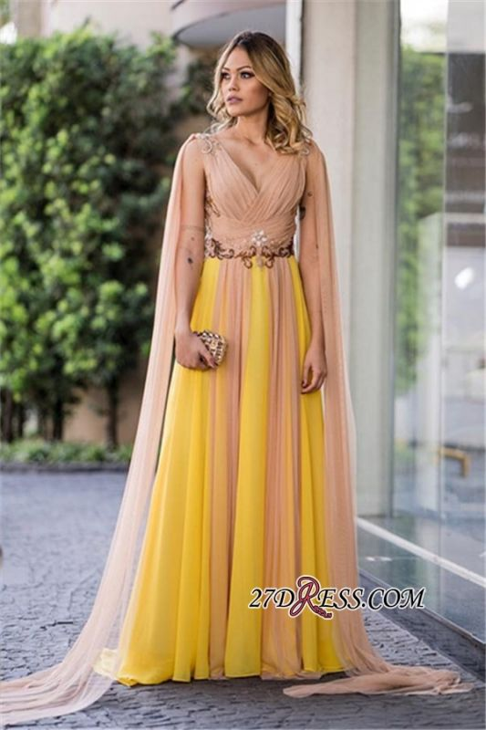 Ruffles yellow prom dress, 2020 v-neck evening gowns
