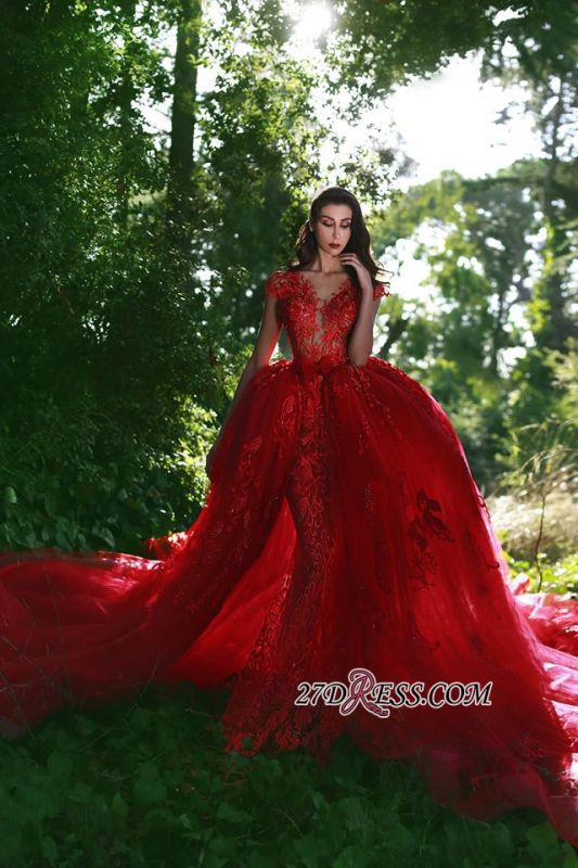 Luxurious Red Cap Sleeve 2020 Prom Dress Lace Appliques With Ruffles MH0