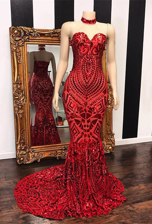 Sexy Red Sequins Prom Dresses   2020 Mermaid Sweetheart Long Evening Gowns
