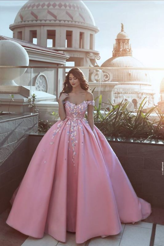 Glamorous Off-the-Shoulder Princess candy Pink 2020 Evening Dress With Appliques BA7675