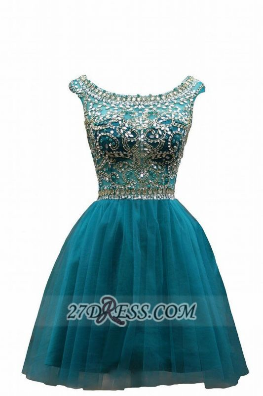 Elegant Scoop Cap Sleeve Cocktail Dress Crystals Tulle Short Homecoming Gown BC1044