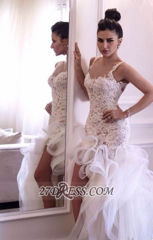 Sexy Scoop Sleeveless Hi-Lo Wedding Dress Open Back Lace Appliques Ruffles Bridal Gown
