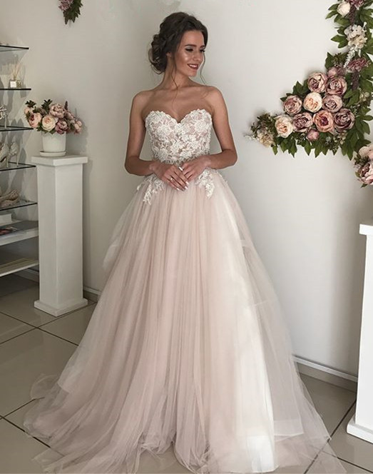 Elegant Sweetheart 2020 Wedding Dresses | Lace Tulle Bridal Gowns