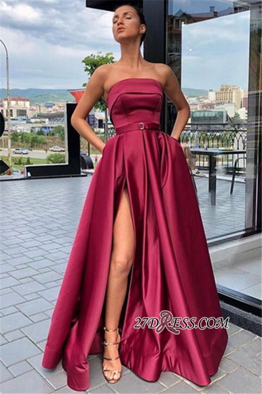 Burgundy Strapless A-Line Prom Gown | Sexy Side-Slit Sleeveless Evening Gown