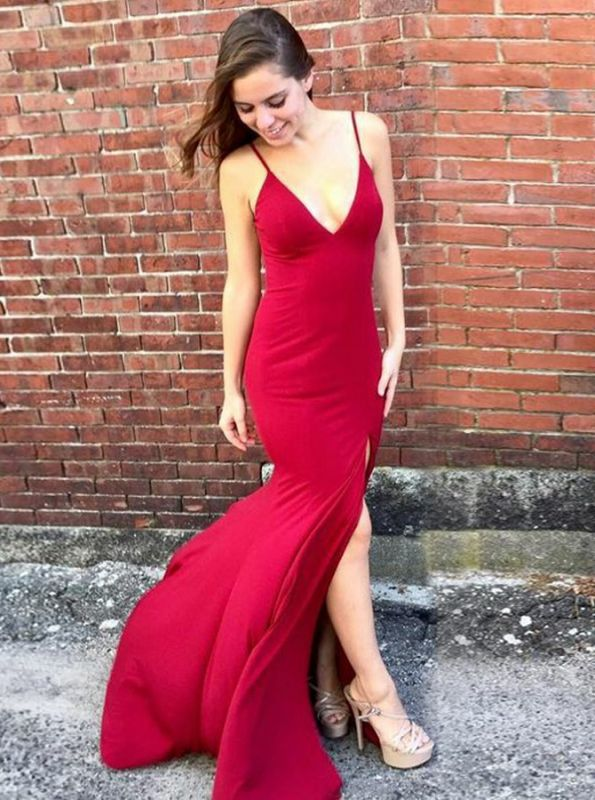 Stunning Red V-Neck Mermaid Prom Dress | 2020 Long Evening Gowns With Slit