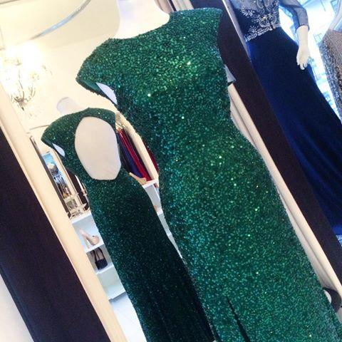 Floor-length Backless Sheath-Column Sequins Sexy Green Evening Dress