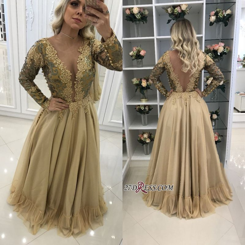 2020 prom dress with gold appliques, long sleeves evening dresses