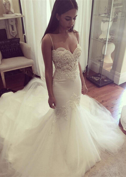 Delicate Tulle Lace Spaghetti Strap Wedding Dress 2020 Court Train
