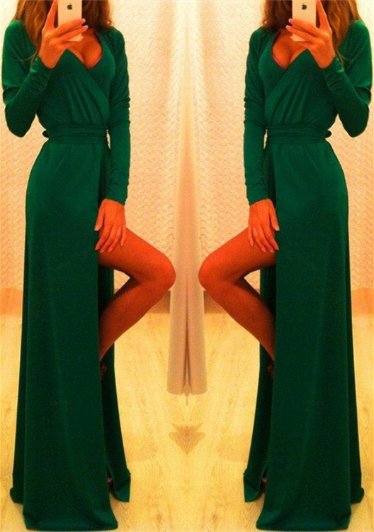 Elegant Long Sleeve Green Prom Dress 2020 Long Front Split Party Gowns